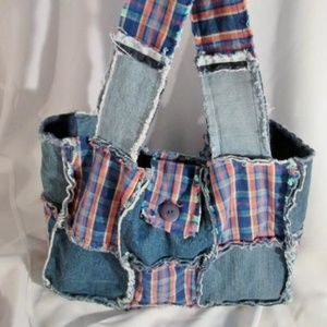 Handbags - PATCHWORK PLAID Jean Denim Sling Hobo Shoulder Bag